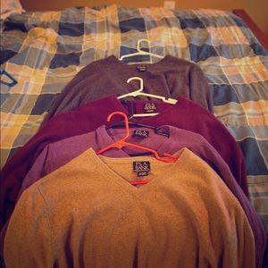 Joseph A Bank cashmere v-neck sweaters.